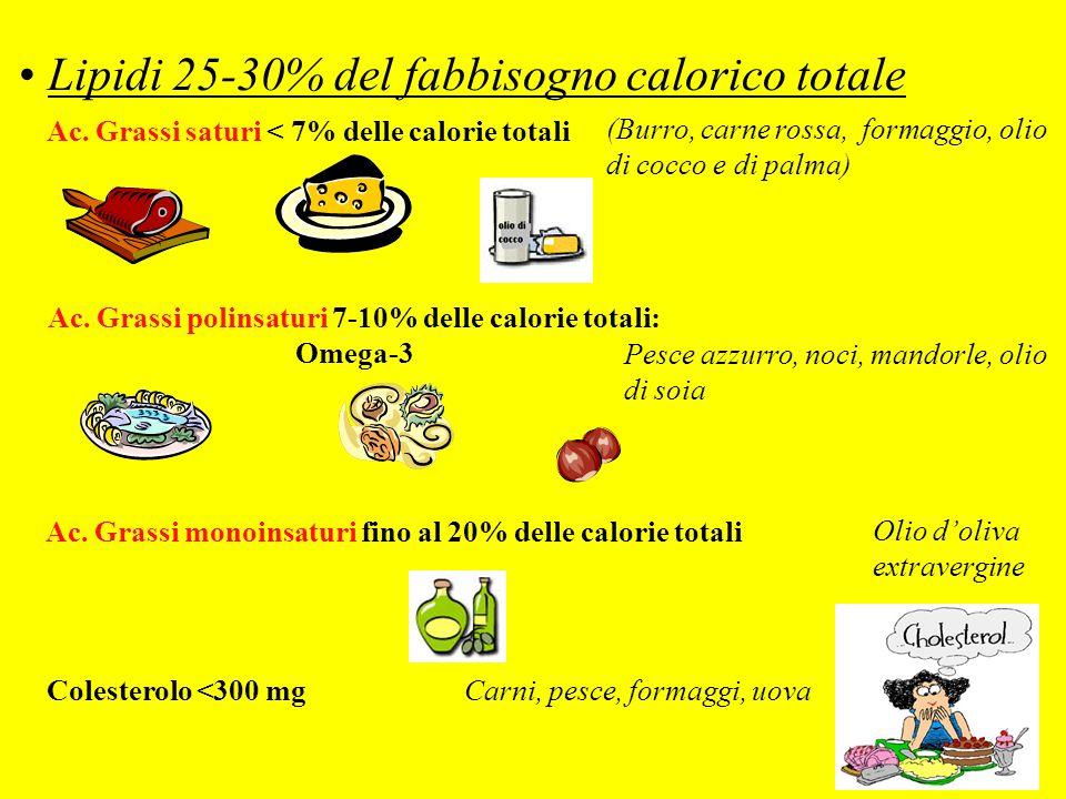 Lipidi 25-30% del fabbisogno calorico totale (Burro, carne rossa, formaggio, olio di cocco e di palma) Pesce azzurro, noci, mandorle, olio di soia Oli