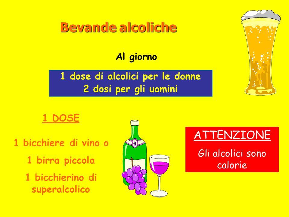 Bevande alcoliche 1 dose di alcolici per le donne 2 dosi per gli uomini 1 DOSE 1 bicchiere di vino o 1 birra piccola 1 bicchierino di superalcolico Al