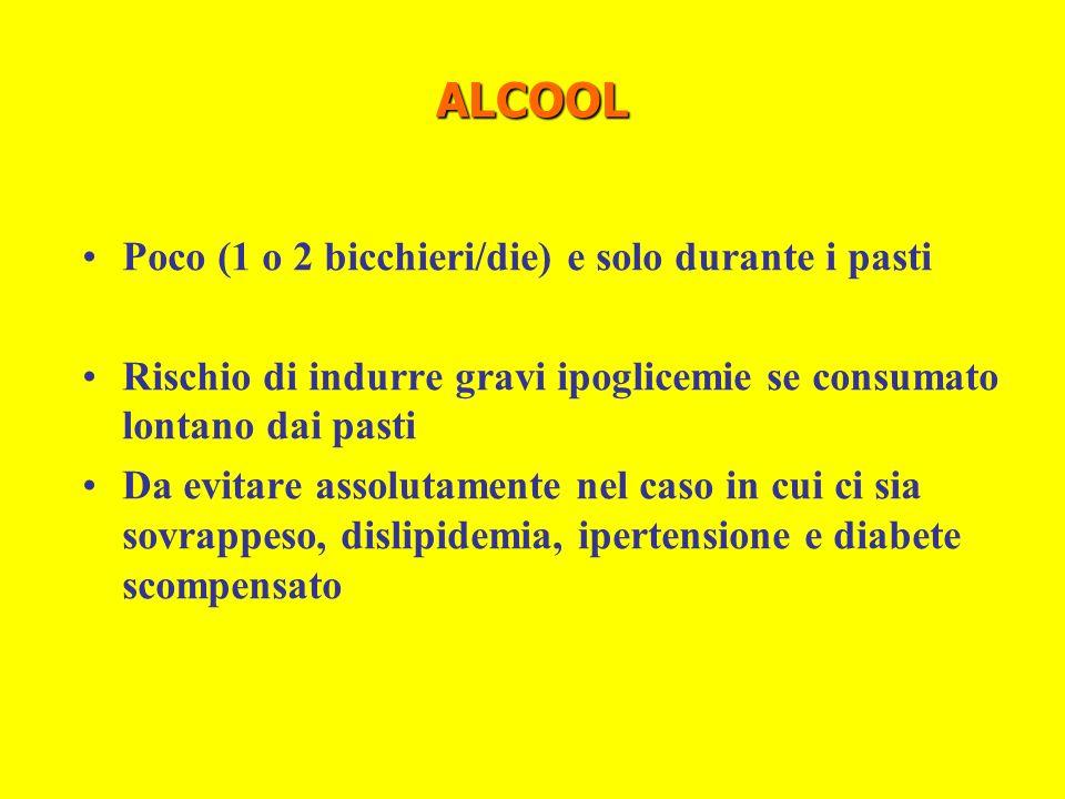 ALCOOL Poco (1 o 2 bicchieri/die) e solo durante i pasti Rischio di indurre gravi ipoglicemie se consumato lontano dai pasti Da evitare assolutamente