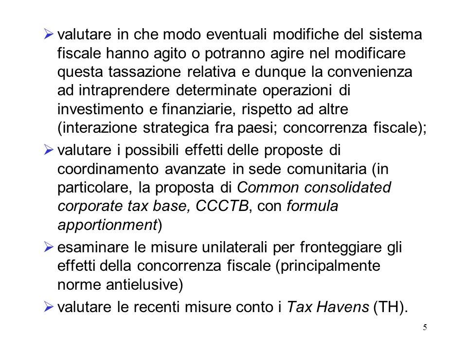 5 valutare in che modo eventuali modifiche del sistema fiscale hanno agito o potranno agire nel modificare questa tassazione relativa e dunque la conv