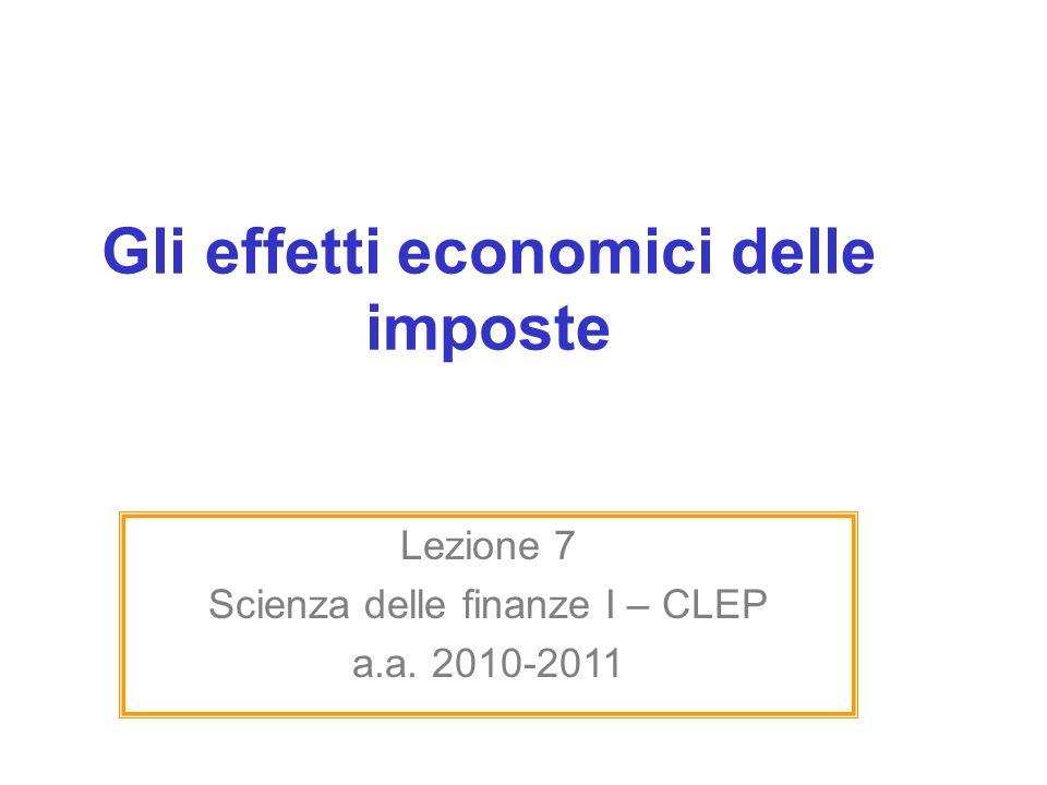 Gli effetti economici delle imposte Lezione 7 Scienza delle finanze I – CLEP a.a. 2010-2011