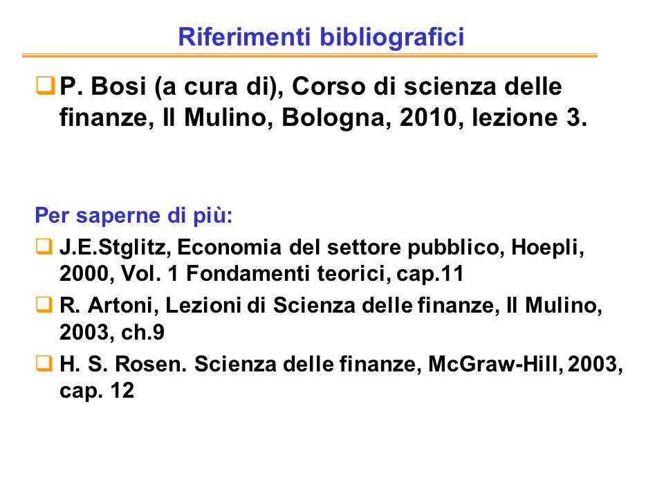 Riferimenti bibliografici P. Bosi (a cura di), Corso di scienza delle finanze, Il Mulino, Bologna, 2010, lezione 3. Per saperne di più: J.E.Stglitz, E