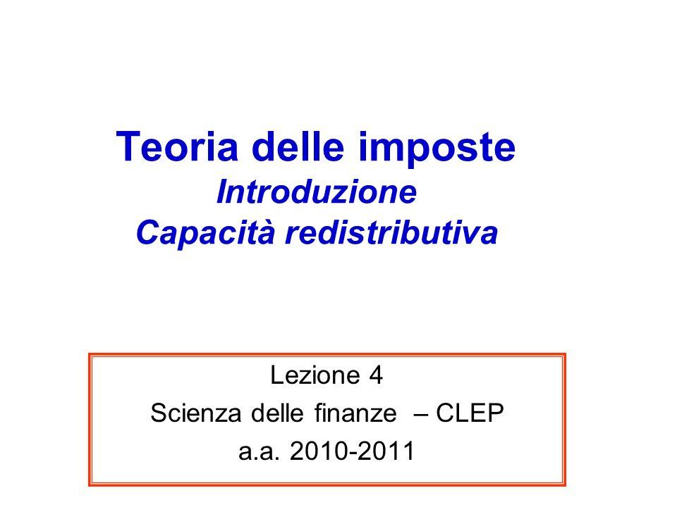 Teoria delle imposte Introduzione Capacità redistributiva Lezione 4 Scienza delle finanze – CLEP a.a. 2010-2011