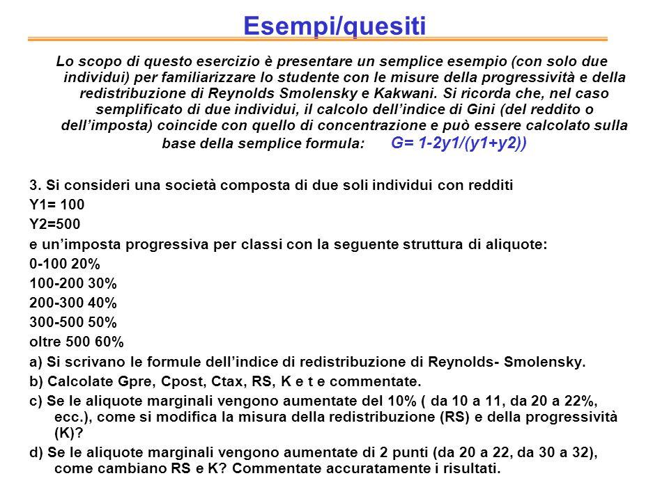 Esempi/quesiti Lo scopo di questo esercizio è presentare un semplice esempio (con solo due individui) per familiarizzare lo studente con le misure del