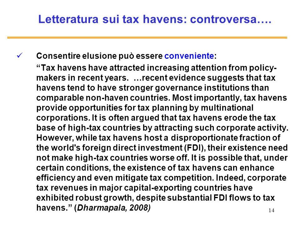 14 Letteratura sui tax havens: controversa…. Consentire elusione può essere conveniente: Tax havens have attracted increasing attention from policy- m