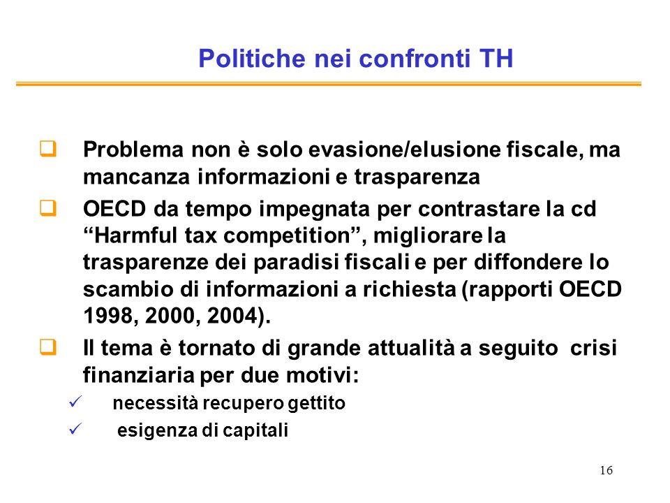 16 Politiche nei confronti TH Problema non è solo evasione/elusione fiscale, ma mancanza informazioni e trasparenza OECD da tempo impegnata per contrastare la cd Harmful tax competition, migliorare la trasparenze dei paradisi fiscali e per diffondere lo scambio di informazioni a richiesta (rapporti OECD 1998, 2000, 2004).