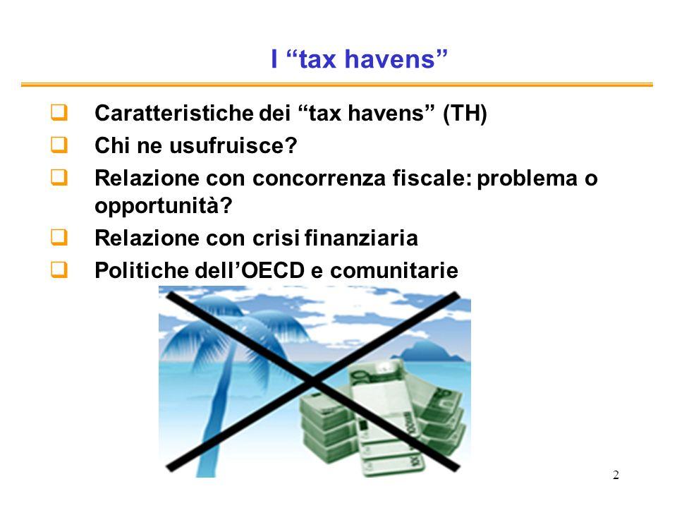 2 I tax havens Caratteristiche dei tax havens (TH) Chi ne usufruisce.