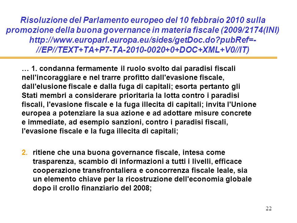 22 Risoluzione del Parlamento europeo del 10 febbraio 2010 sulla promozione della buona governance in materia fiscale (2009/2174(INI) http://www.europarl.europa.eu/sides/getDoc.do pubRef=- //EP//TEXT+TA+P7-TA-2010-0020+0+DOC+XML+V0//IT) … 1.
