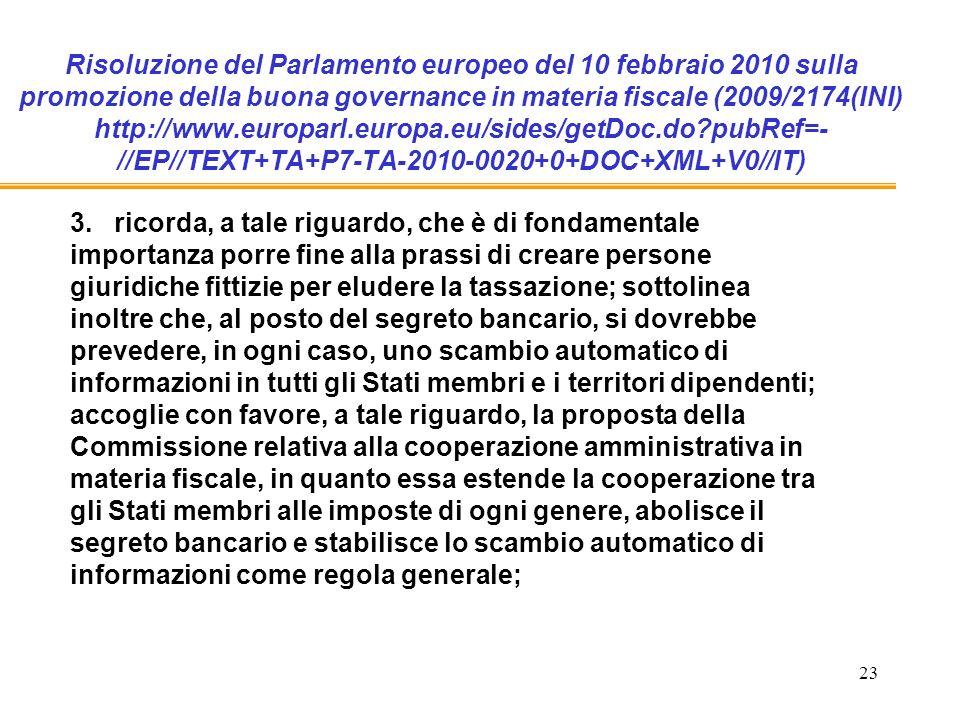 23 Risoluzione del Parlamento europeo del 10 febbraio 2010 sulla promozione della buona governance in materia fiscale (2009/2174(INI) http://www.europarl.europa.eu/sides/getDoc.do pubRef=- //EP//TEXT+TA+P7-TA-2010-0020+0+DOC+XML+V0//IT) 3.