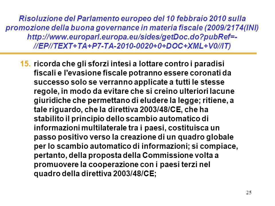 25 Risoluzione del Parlamento europeo del 10 febbraio 2010 sulla promozione della buona governance in materia fiscale (2009/2174(INI) http://www.europarl.europa.eu/sides/getDoc.do pubRef=- //EP//TEXT+TA+P7-TA-2010-0020+0+DOC+XML+V0//IT) 15.ricorda che gli sforzi intesi a lottare contro i paradisi fiscali e l evasione fiscale potranno essere coronati da successo solo se verranno applicate a tutti le stesse regole, in modo da evitare che si creino ulteriori lacune giuridiche che permettano di eludere la legge; ritiene, a tale riguardo, che la direttiva 2003/48/CE, che ha stabilito il principio dello scambio automatico di informazioni multilaterale tra i paesi, costituisca un passo positivo verso la creazione di un quadro globale per lo scambio automatico di informazioni; si compiace, pertanto, della proposta della Commissione volta a promuovere la cooperazione con i paesi terzi nel quadro della direttiva 2003/48/CE;