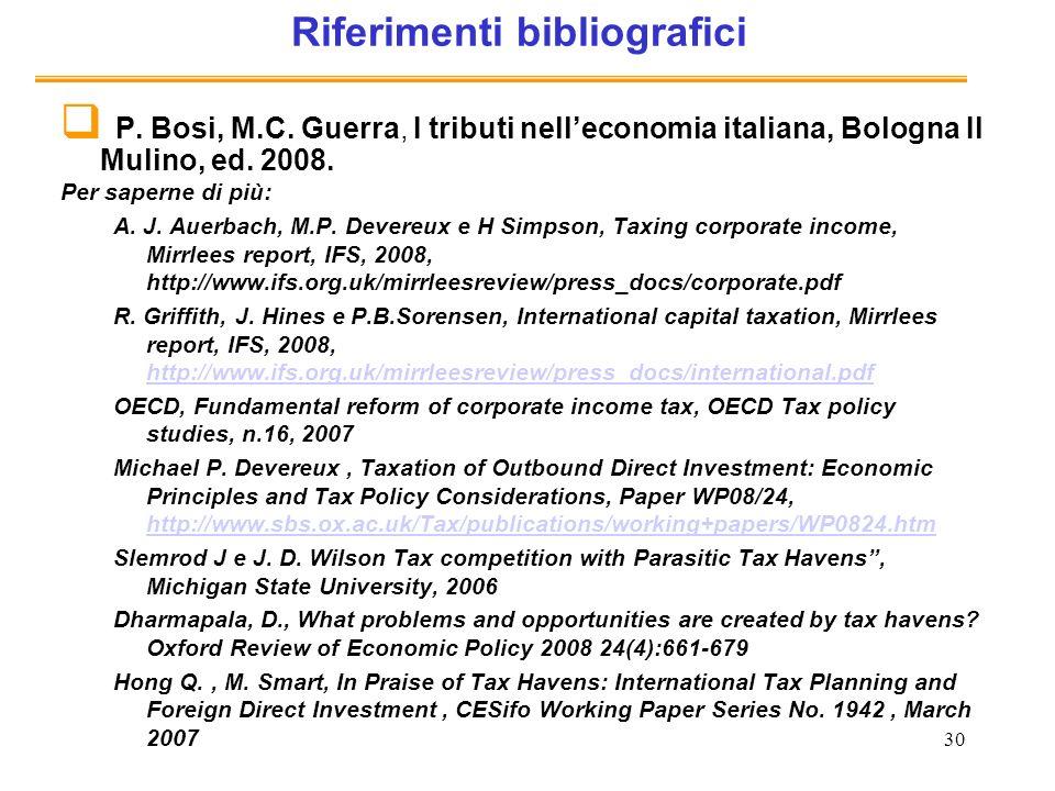 30 Riferimenti bibliografici P. Bosi, M.C.