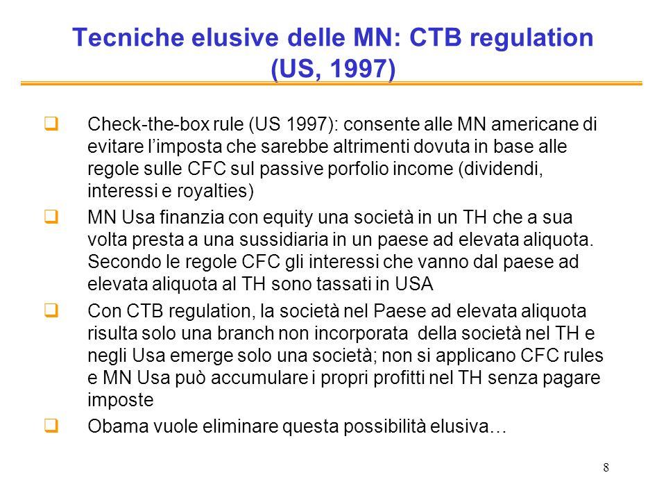 8 Tecniche elusive delle MN: CTB regulation (US, 1997) Check-the-box rule (US 1997): consente alle MN americane di evitare limposta che sarebbe altrimenti dovuta in base alle regole sulle CFC sul passive porfolio income (dividendi, interessi e royalties) MN Usa finanzia con equity una società in un TH che a sua volta presta a una sussidiaria in un paese ad elevata aliquota.