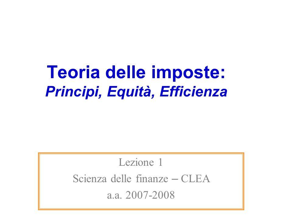 Teoria delle imposte: Principi, Equità, Efficienza Lezione 1 Scienza delle finanze – CLEA a.a. 2007-2008