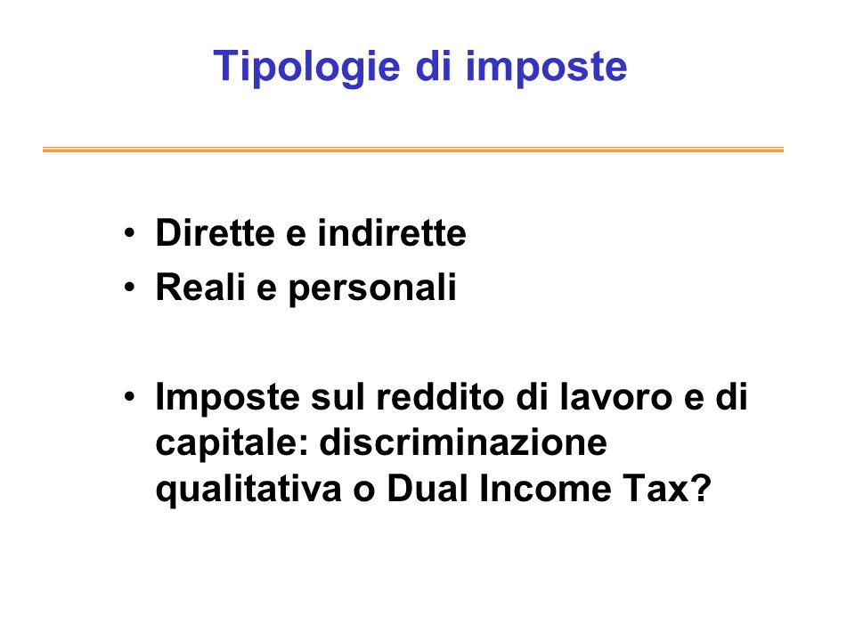 Tipologie di imposte Dirette e indirette Reali e personali Imposte sul reddito di lavoro e di capitale: discriminazione qualitativa o Dual Income Tax?