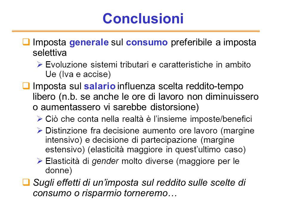 Conclusioni Imposta generale sul consumo preferibile a imposta selettiva Evoluzione sistemi tributari e caratteristiche in ambito Ue (Iva e accise) Im