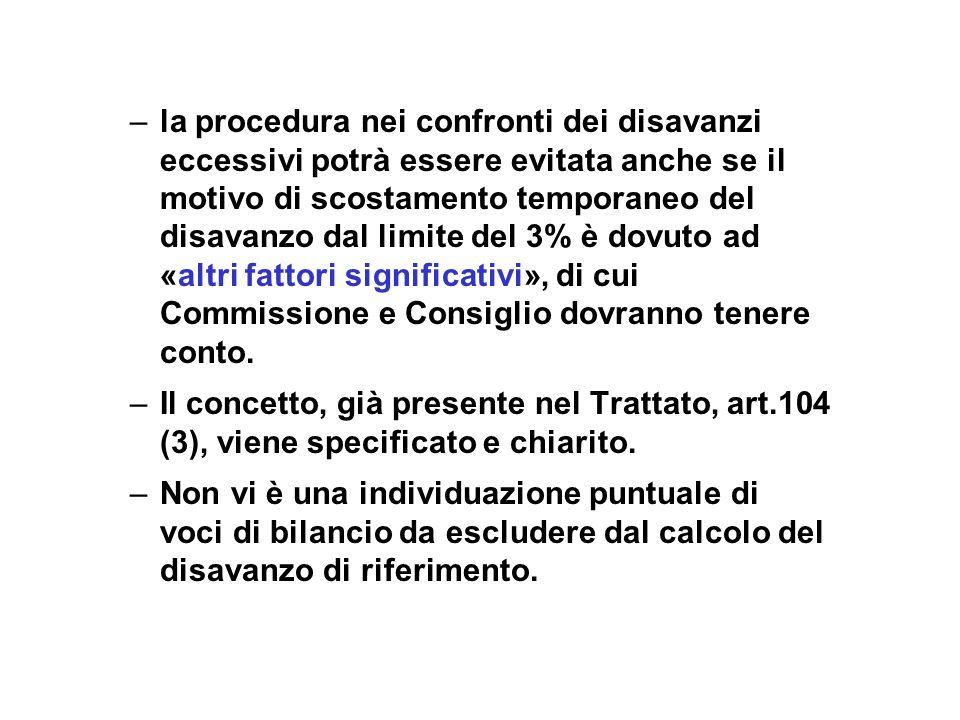 – –la procedura nei confronti dei disavanzi eccessivi potrà essere evitata anche se il motivo di scostamento temporaneo del disavanzo dal limite del 3