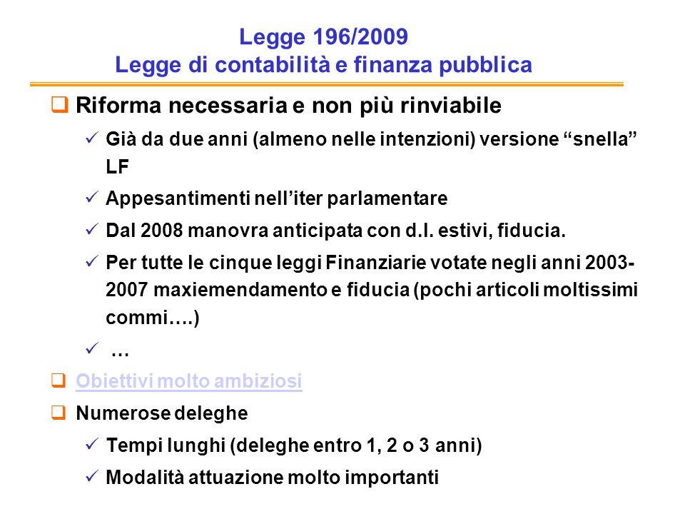 Legge 196/2009 Legge di contabilità e finanza pubblica Riforma necessaria e non più rinviabile Già da due anni (almeno nelle intenzioni) versione snella LF Appesantimenti nelliter parlamentare Dal 2008 manovra anticipata con d.l.