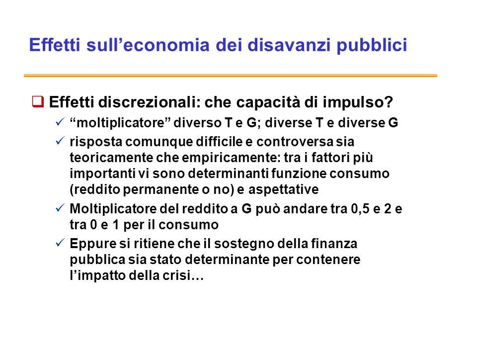 Effetti sulleconomia dei disavanzi pubblici Effetti discrezionali: che capacità di impulso.