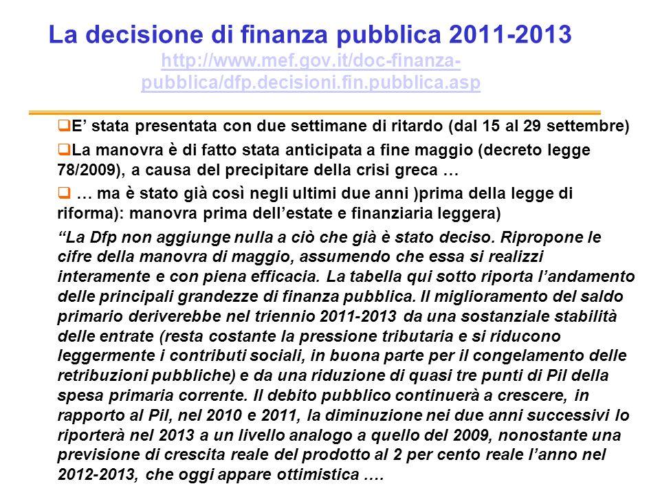 La decisione di finanza pubblica 2011-2013 http://www.mef.gov.it/doc-finanza- pubblica/dfp.decisioni.fin.pubblica.asp http://www.mef.gov.it/doc-finanza- pubblica/dfp.decisioni.fin.pubblica.asp E stata presentata con due settimane di ritardo (dal 15 al 29 settembre) La manovra è di fatto stata anticipata a fine maggio (decreto legge 78/2009), a causa del precipitare della crisi greca … … ma è stato già così negli ultimi due anni )prima della legge di riforma): manovra prima dellestate e finanziaria leggera) La Dfp non aggiunge nulla a ciò che già è stato deciso.