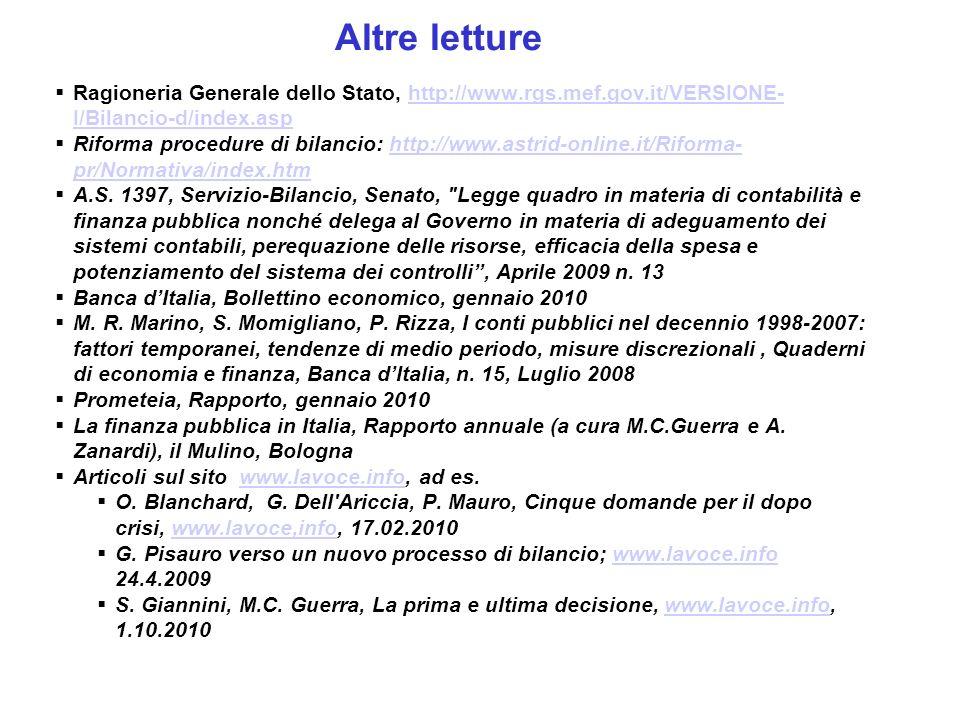 Altre letture Ragioneria Generale dello Stato, http://www.rgs.mef.gov.it/VERSIONE- I/Bilancio-d/index.asphttp://www.rgs.mef.gov.it/VERSIONE- I/Bilancio-d/index.asp Riforma procedure di bilancio: http://www.astrid-online.it/Riforma- pr/Normativa/index.htmhttp://www.astrid-online.it/Riforma- pr/Normativa/index.htm A.S.