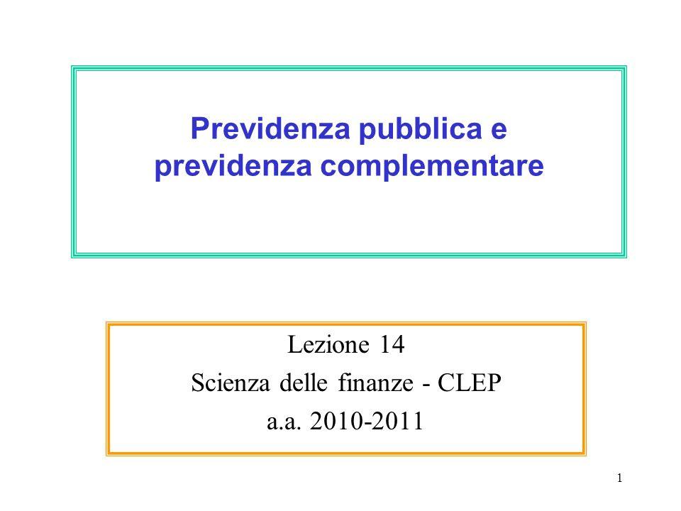 1 Previdenza pubblica e previdenza complementare Lezione 14 Scienza delle finanze - CLEP a.a.