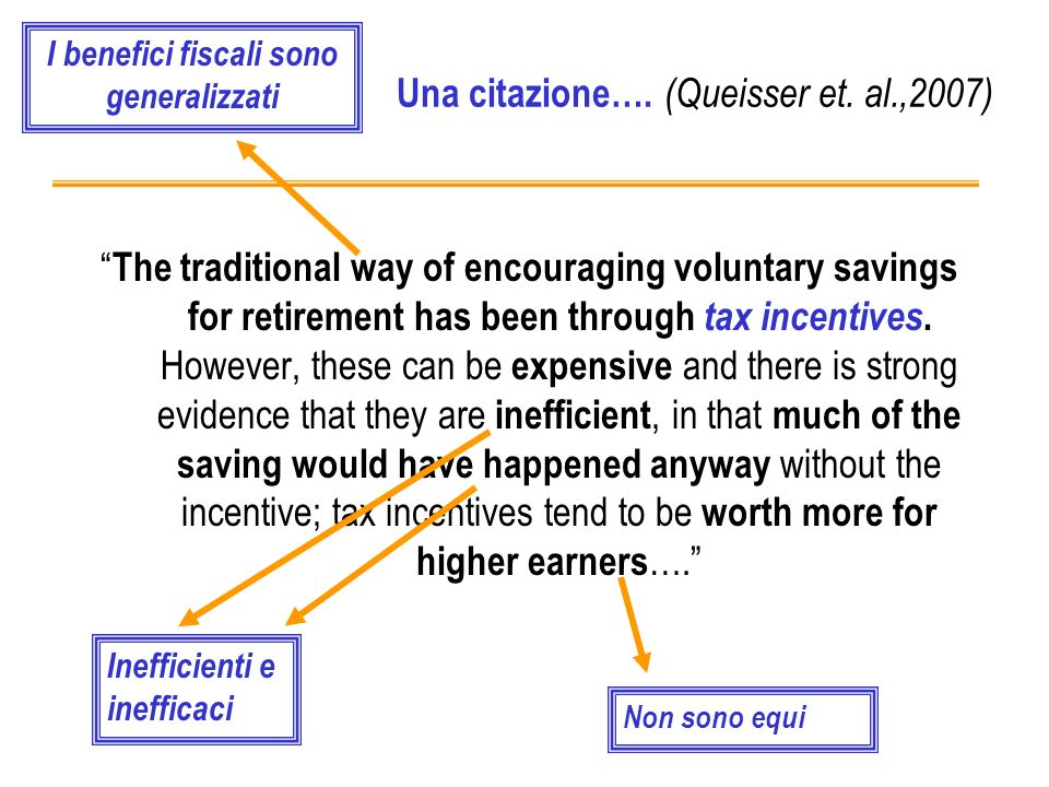 Una citazione…. (Queisser et. al.,2007) The traditional way of encouraging voluntary savings for retirement has been through tax incentives. However,