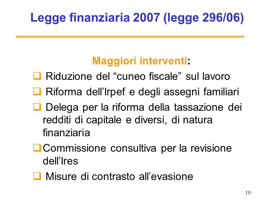 10 Legge finanziaria 2007 (legge 296/06) Maggiori interventi: Riduzione del cuneo fiscale sul lavoro Riforma dellIrpef e degli assegni familiari Deleg
