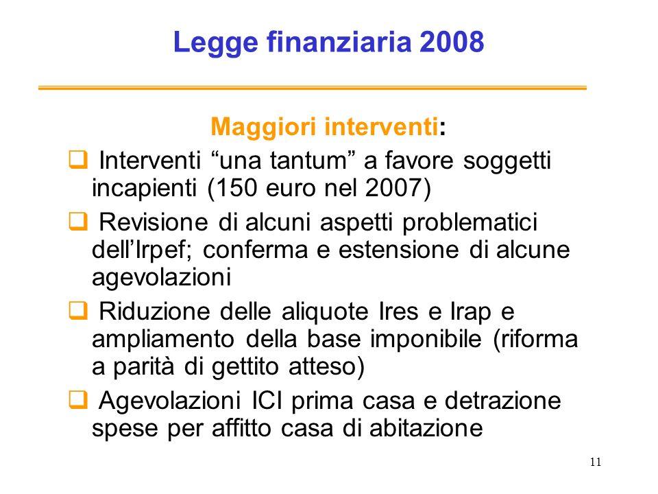 11 Legge finanziaria 2008 Maggiori interventi: Interventi una tantum a favore soggetti incapienti (150 euro nel 2007) Revisione di alcuni aspetti prob