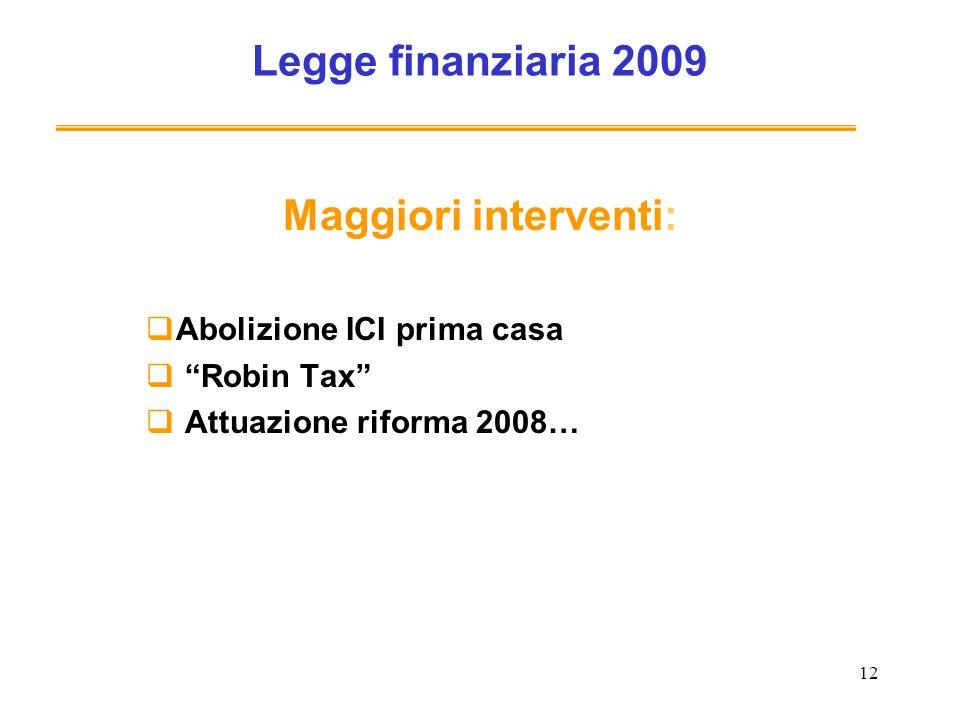 12 Legge finanziaria 2009 Maggiori interventi: Abolizione ICI prima casa Robin Tax Attuazione riforma 2008…