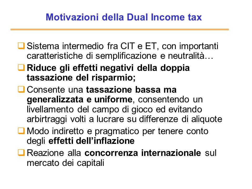 Motivazioni della Dual Income tax Sistema intermedio fra CIT e ET, con importanti caratteristiche di semplificazione e neutralità… Riduce gli effetti
