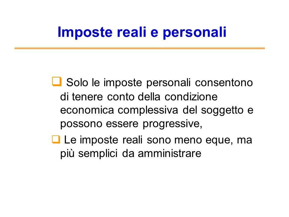 Imposte reali e personali Solo le imposte personali consentono di tenere conto della condizione economica complessiva del soggetto e possono essere pr