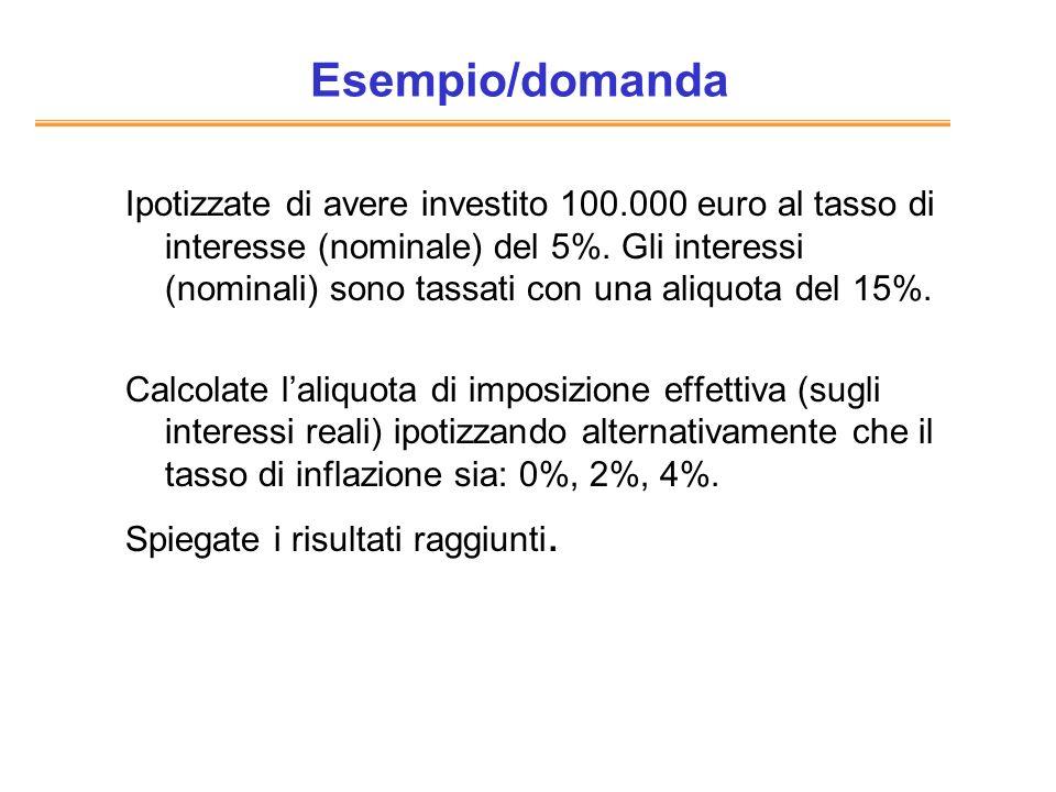 Esempio/domanda Ipotizzate di avere investito 100.000 euro al tasso di interesse (nominale) del 5%. Gli interessi (nominali) sono tassati con una aliq