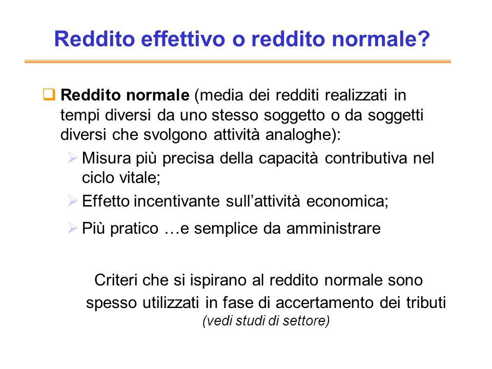 Reddito effettivo o reddito normale? Reddito normale (media dei redditi realizzati in tempi diversi da uno stesso soggetto o da soggetti diversi che s