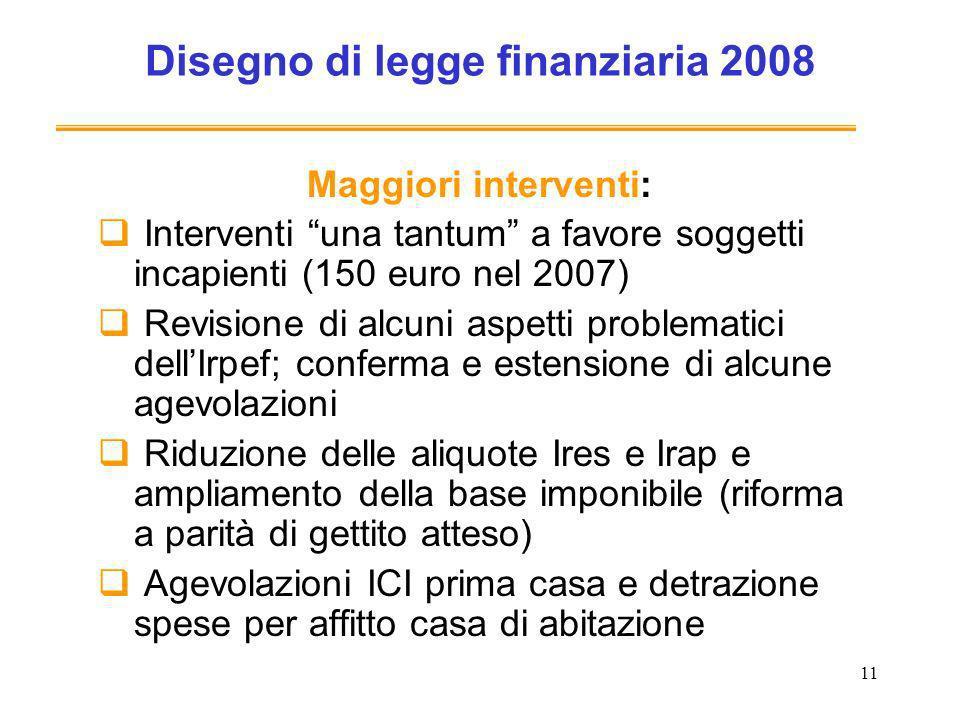 11 Disegno di legge finanziaria 2008 Maggiori interventi: Interventi una tantum a favore soggetti incapienti (150 euro nel 2007) Revisione di alcuni a