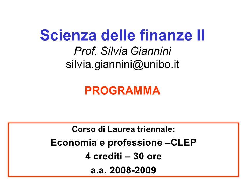 2 Obiettivo del corso L insegnamento ha lo scopo di: fornire le principali conoscenze sui più importanti tributi presenti in Italia; analizzare gli effetti economici delle principali fonti di prelievo fiscale presenti in Italia, a livello statale e locale.