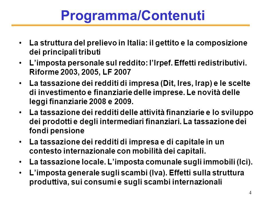 4 Programma/Contenuti La struttura del prelievo in Italia: il gettito e la composizione dei principali tributi Limposta personale sul reddito: lIrpef.