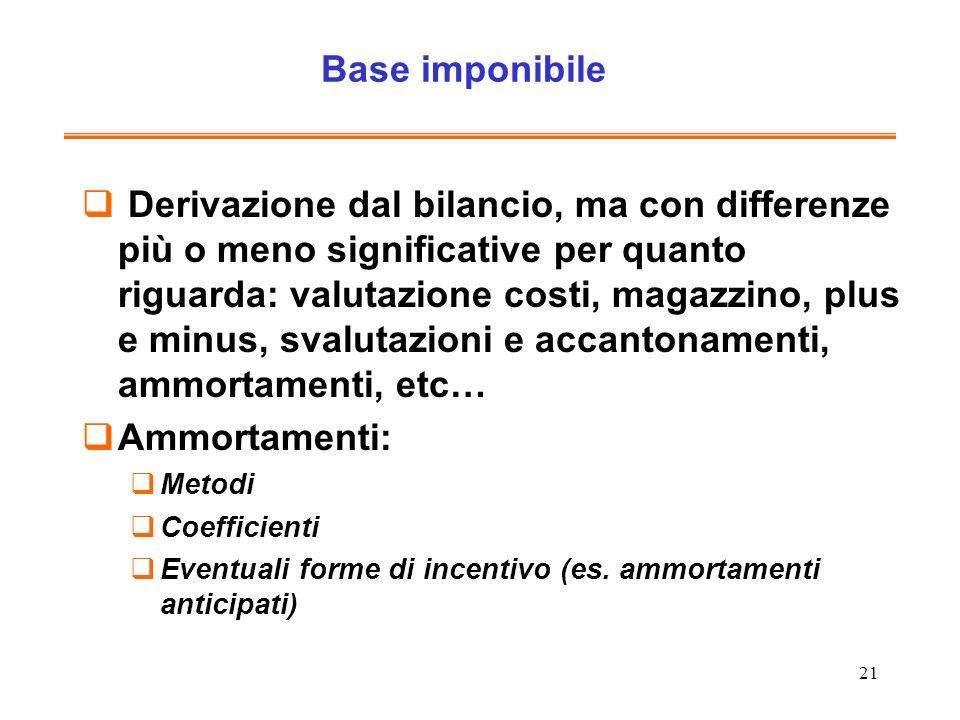 21 Base imponibile Derivazione dal bilancio, ma con differenze più o meno significative per quanto riguarda: valutazione costi, magazzino, plus e minu