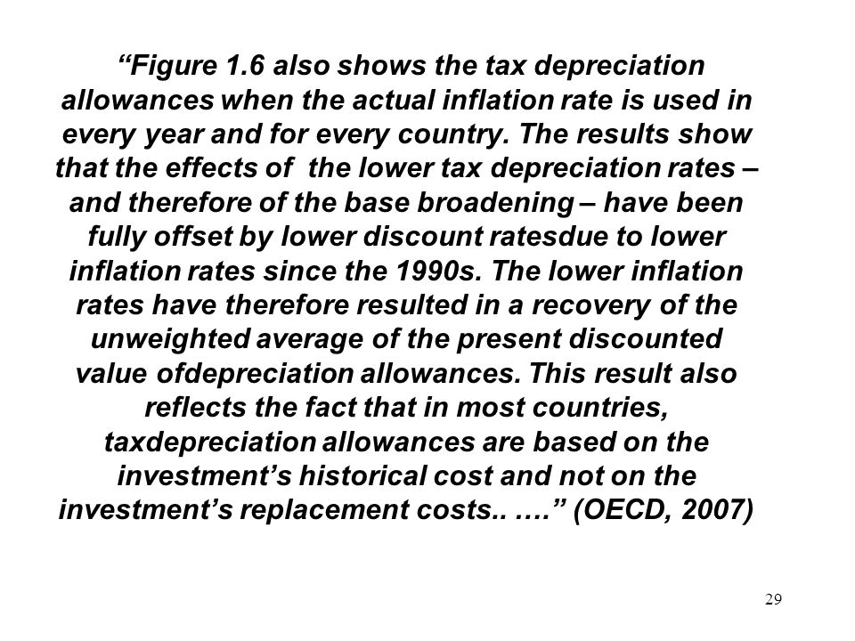29 Figure 1.6 also shows the tax depreciation allowances when the actual inflation rate is used in every year and for every country.