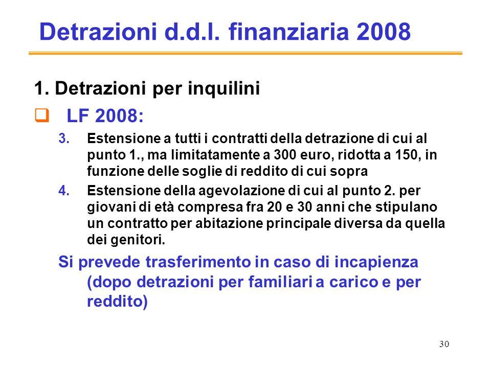 30 Detrazioni d.d.l. finanziaria 2008 1.