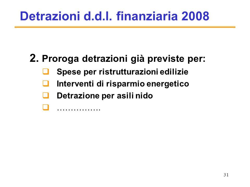 31 Detrazioni d.d.l. finanziaria 2008 2.