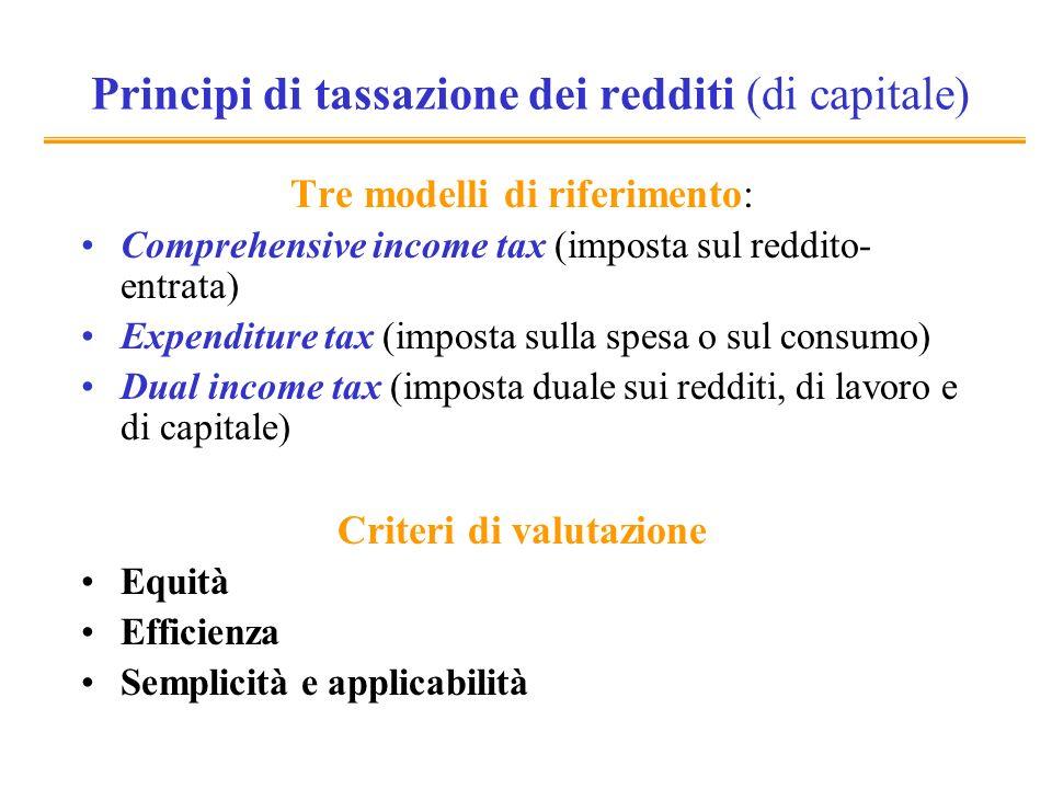 Principi di tassazione dei redditi (di capitale) Tre modelli di riferimento: Comprehensive income tax (imposta sul reddito- entrata) Expenditure tax (