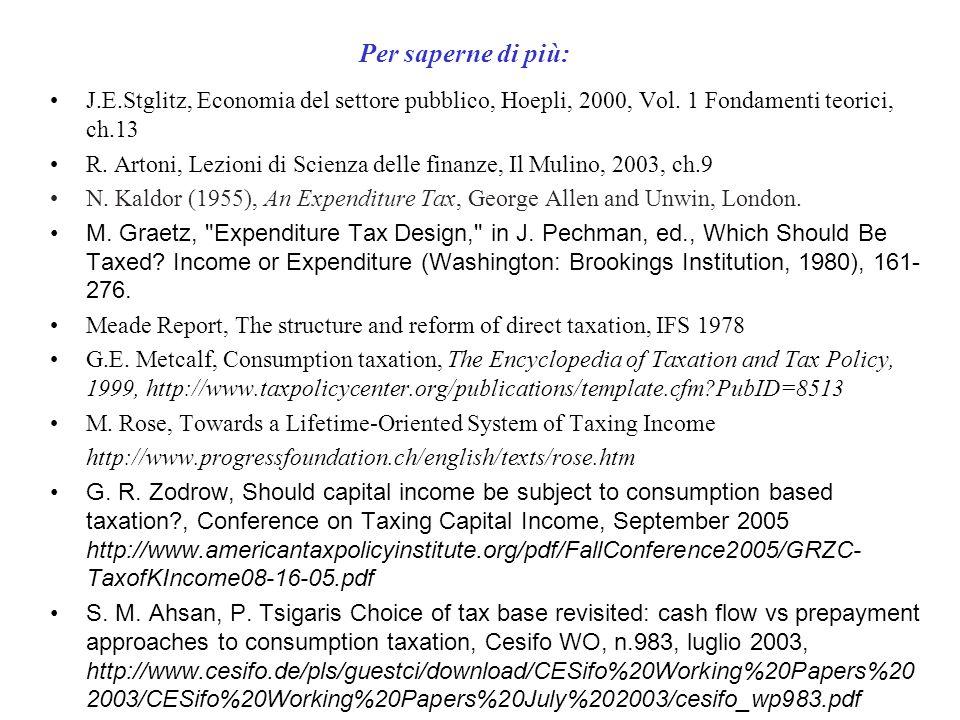 Per saperne di più: J.E.Stglitz, Economia del settore pubblico, Hoepli, 2000, Vol. 1 Fondamenti teorici, ch.13 R. Artoni, Lezioni di Scienza delle fin