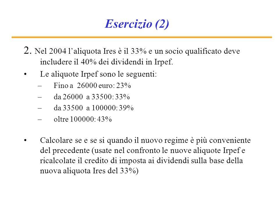 Esercizio (2) 2. Nel 2004 laliquota Ires è il 33% e un socio qualificato deve includere il 40% dei dividendi in Irpef. Le aliquote Irpef sono le segue