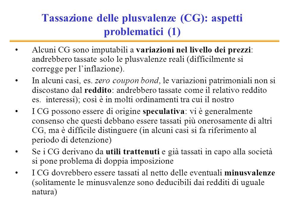 Tassazione delle plusvalenze (CG): aspetti problematici (1) Alcuni CG sono imputabili a variazioni nel livello dei prezzi: andrebbero tassate solo le