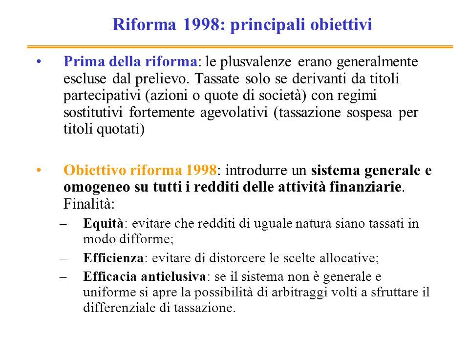 Riforma 1998: principali obiettivi Prima della riforma: le plusvalenze erano generalmente escluse dal prelievo. Tassate solo se derivanti da titoli pa
