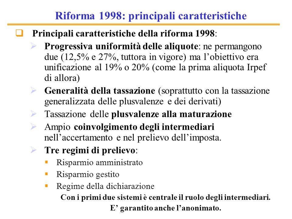 Riforma 1998: principali caratteristiche Principali caratteristiche della riforma 1998: Progressiva uniformità delle aliquote: ne permangono due (12,5