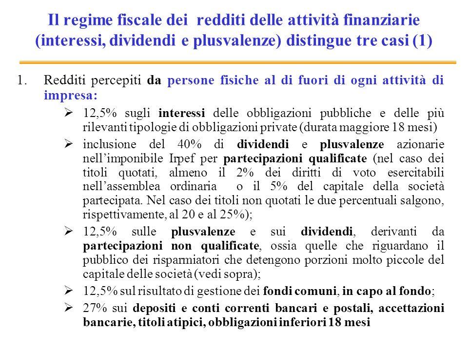 Il regime fiscale dei redditi delle attività finanziarie (interessi, dividendi e plusvalenze) distingue tre casi (1) 1.Redditi percepiti da persone fi