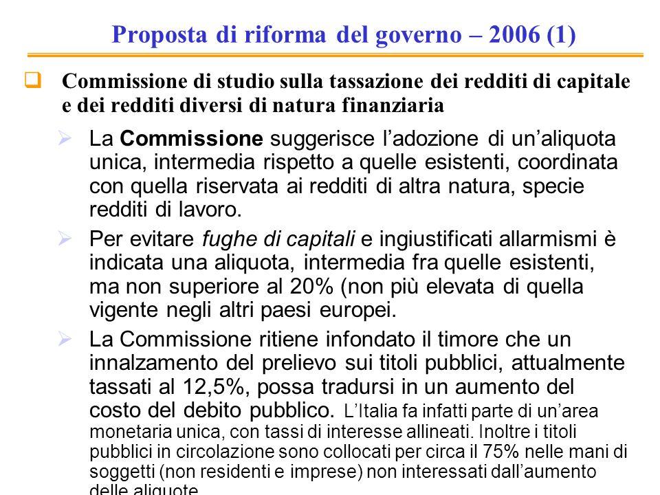 Proposta di riforma del governo – 2006 (1) Commissione di studio sulla tassazione dei redditi di capitale e dei redditi diversi di natura finanziaria