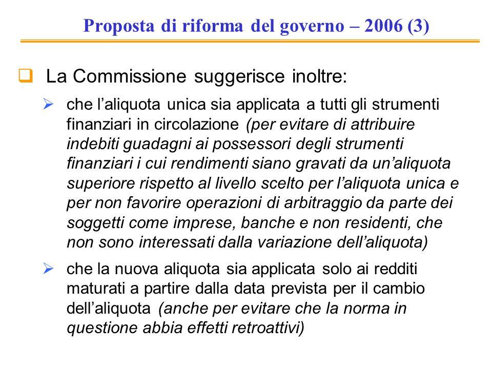 Proposta di riforma del governo – 2006 (3) La Commissione suggerisce inoltre: che laliquota unica sia applicata a tutti gli strumenti finanziari in ci