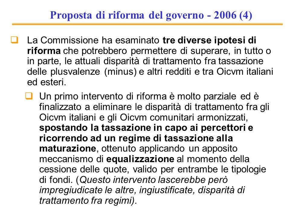 Proposta di riforma del governo - 2006 (4) La Commissione ha esaminato tre diverse ipotesi di riforma che potrebbero permettere di superare, in tutto